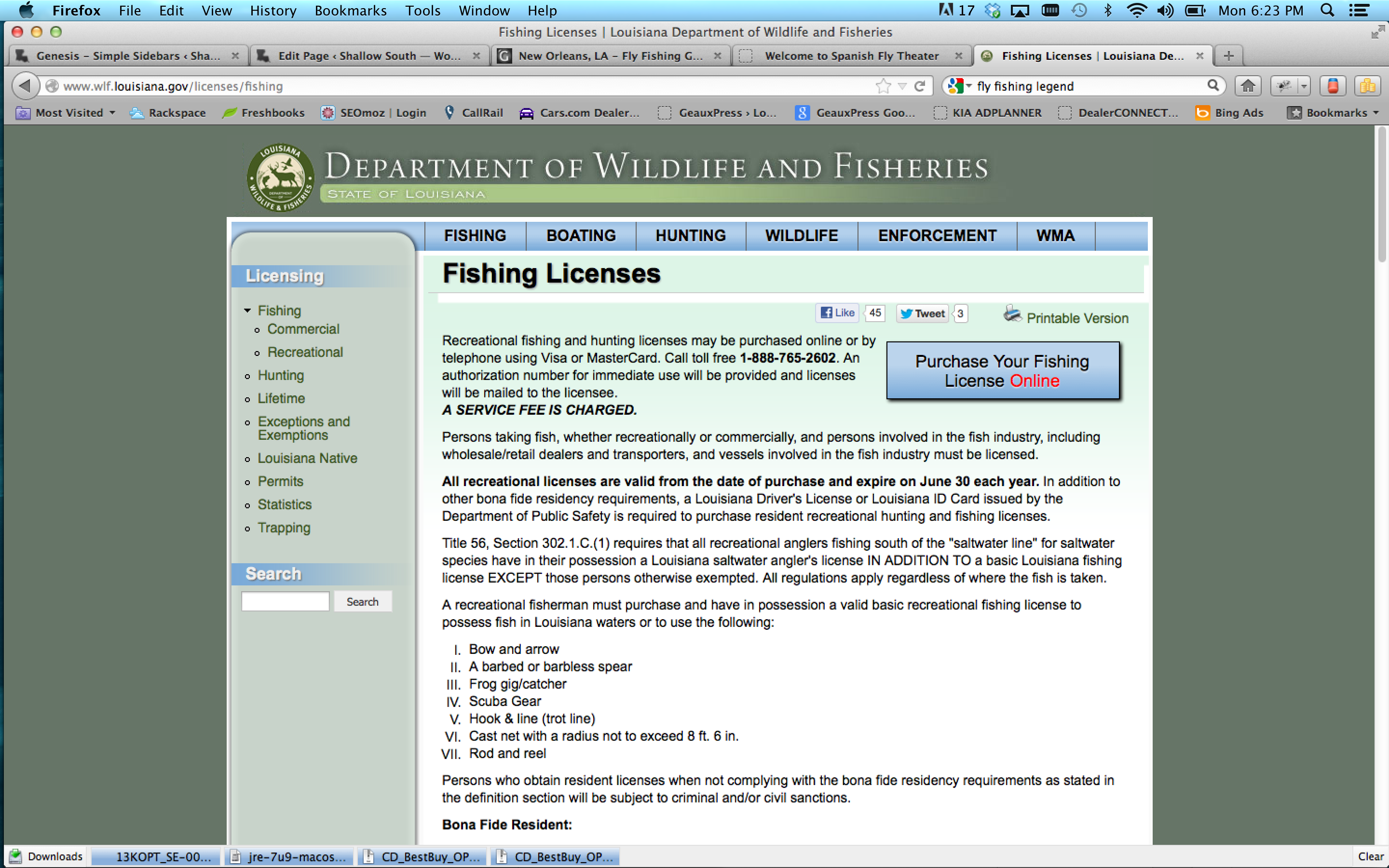 Louisiana Fishing License