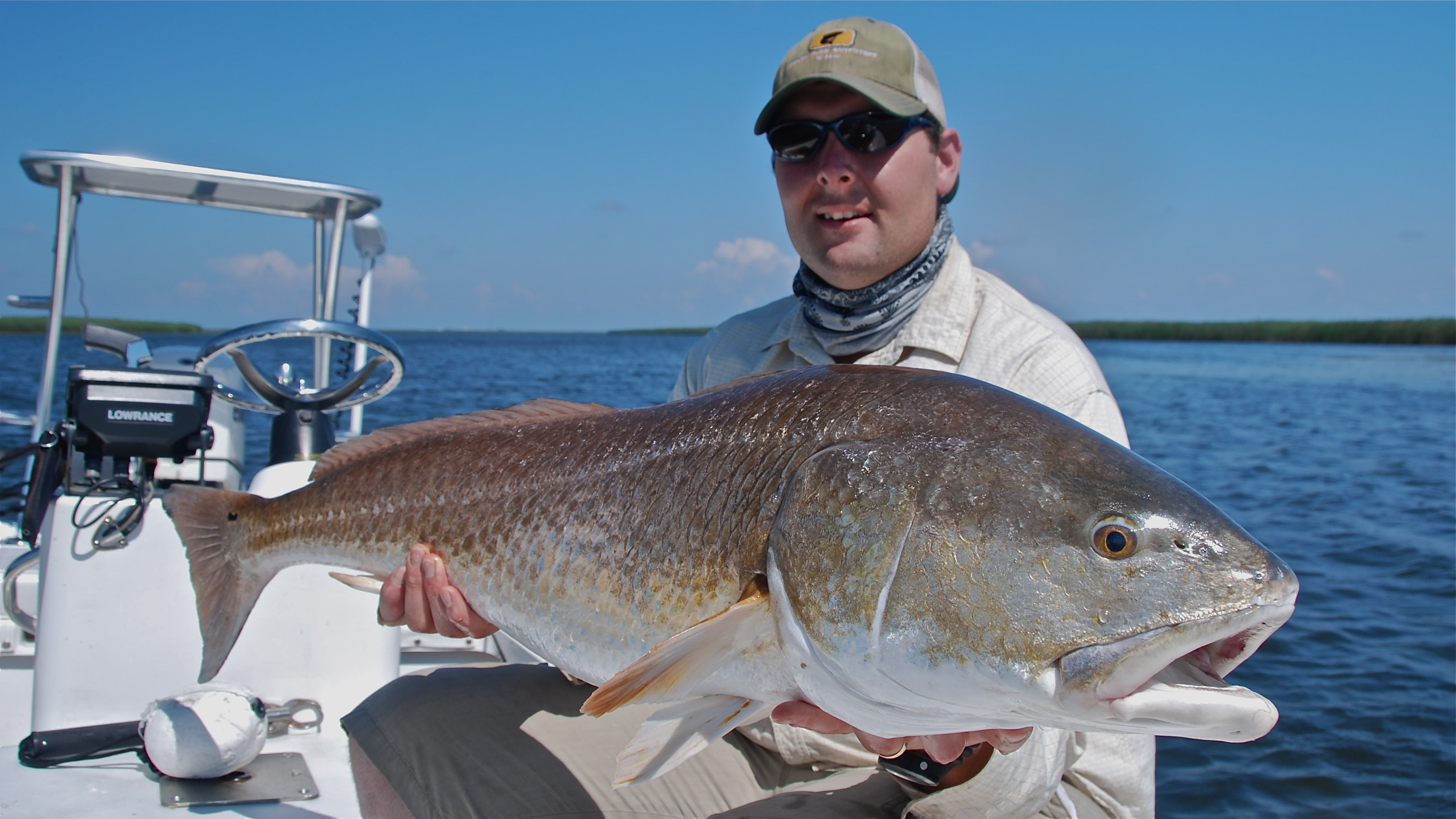 Bull redfish on the fly in the summer shallow south for Fly fishing for redfish