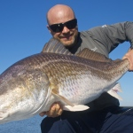 Shallow south's largest redfish caught on fly. Thirty seven pounds
